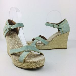 Toms Clarrissa Blue Suede Scrappy Ankle Wedge Heel
